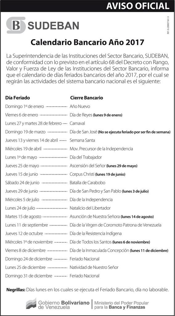 CalendarioBancarioSudeban2017