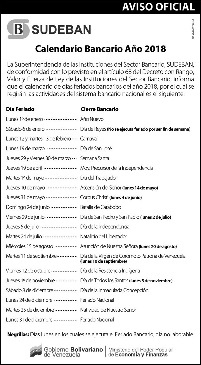 CalendarioBancarioSudeban2018