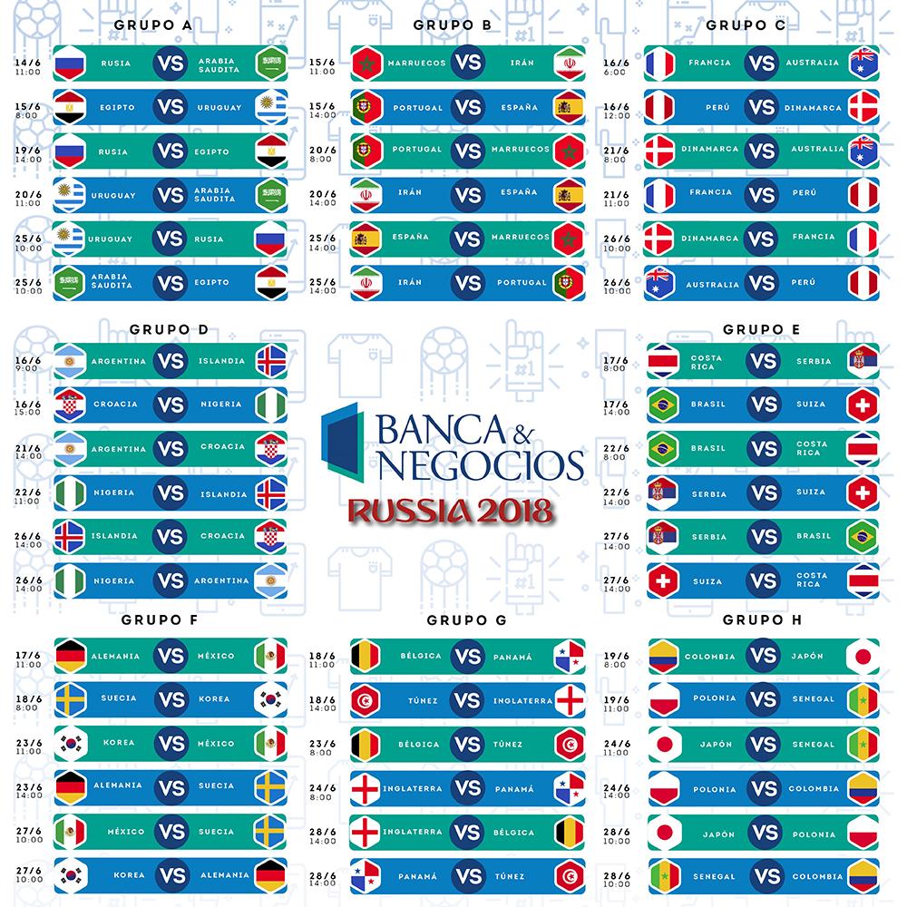 Calendario Mundial Rusia 2018.Este Es El Calendario Del Mundial Rusia 2018 Banca Y Negocios
