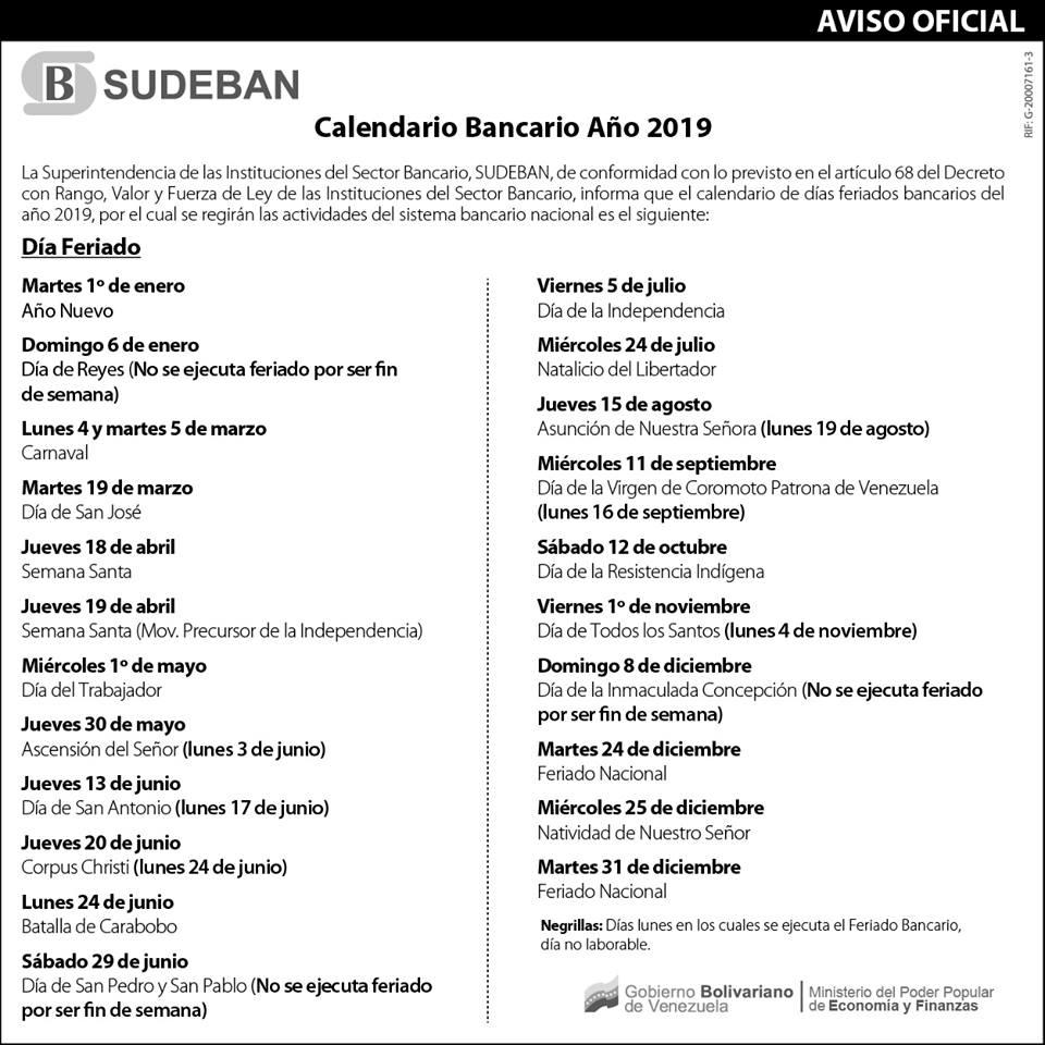 Calendario Panama 2019 Con Festivos.Estos Son Los Feriados Bancarios Para El Ano 2019 Banca Y