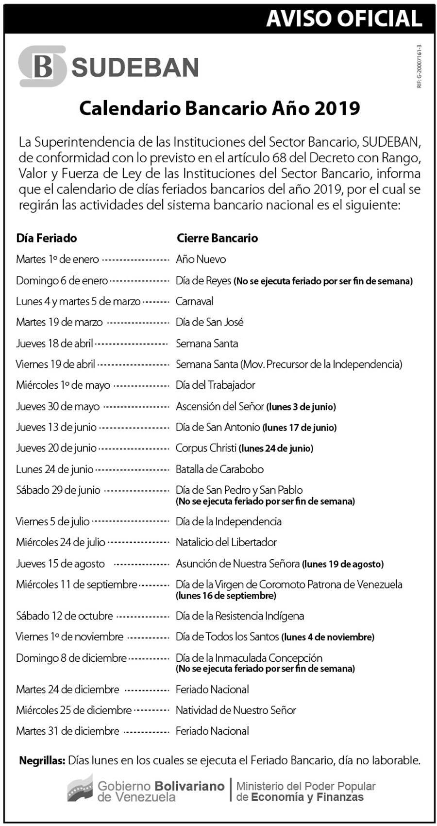 CalendarioBancarioSudeban2019