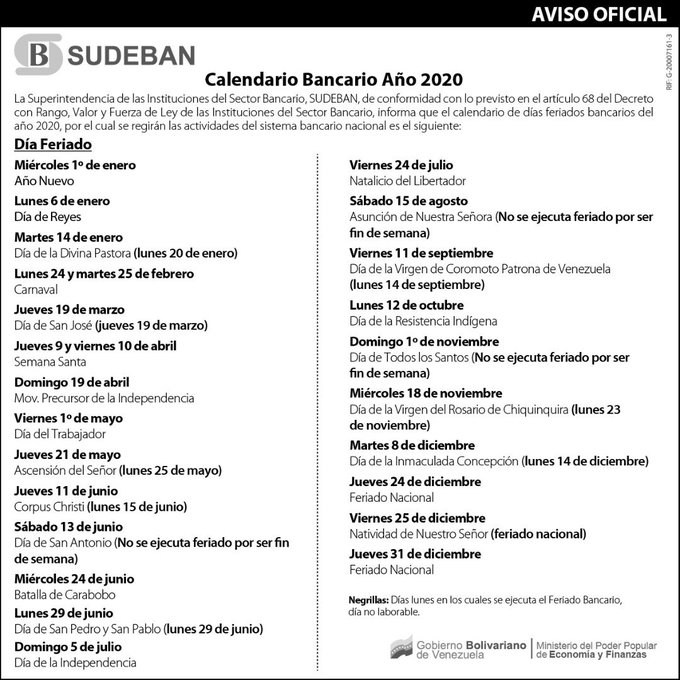 CalendarioBancarioSudeban2020