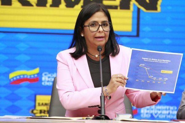 Delcy Rodriguez: Ingresos de Venezuela en divisas cayeron 90,5% por sanciones de EE.UU.