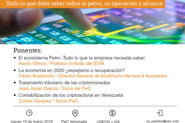 Evento | Expertos analizarán el 19 de marzo las implicaciones del Petro en la economía y las empresas