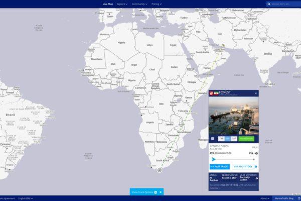 Petrolero iraní con 300.000 barriles de combustible navega por África con destino a Venezuela