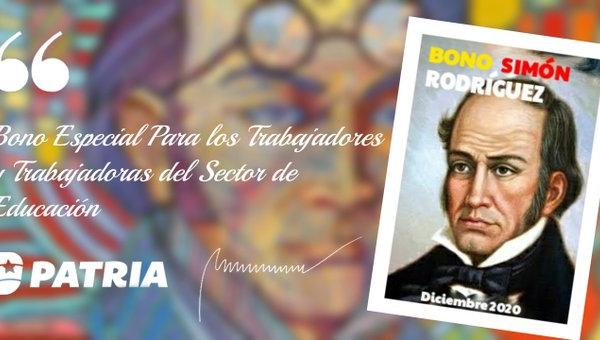 Gobierno entrega el Bono «Simón Rodríguez» por Bs. 16.700.000 al sector educación