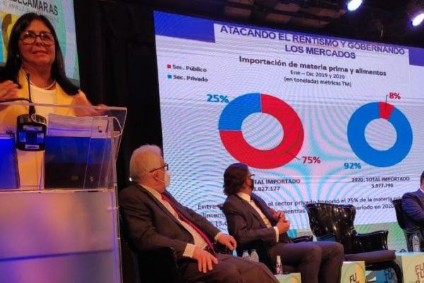 Delcy Rodríguez en Fedecámaras: se anunciarán medidas económicas y 'pido el apoyo del sector privado'