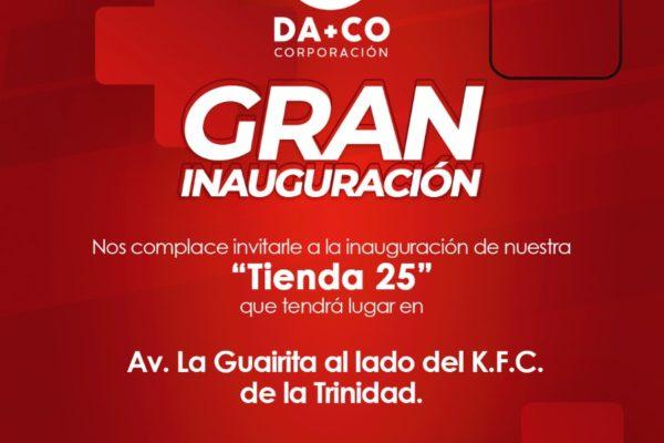 En la Trinidad: DA+CO inaugura tienda 25 este sábado #16Oct